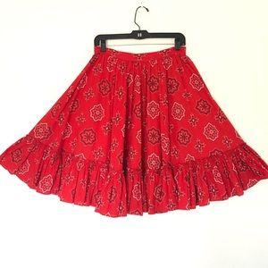 VINTAGE Red Bandana Square Dancing Western Skirt